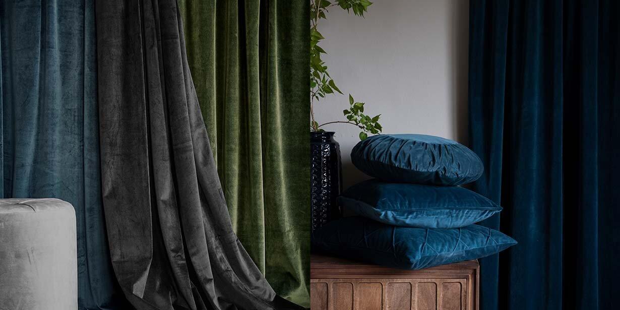 Fløyel gardiner