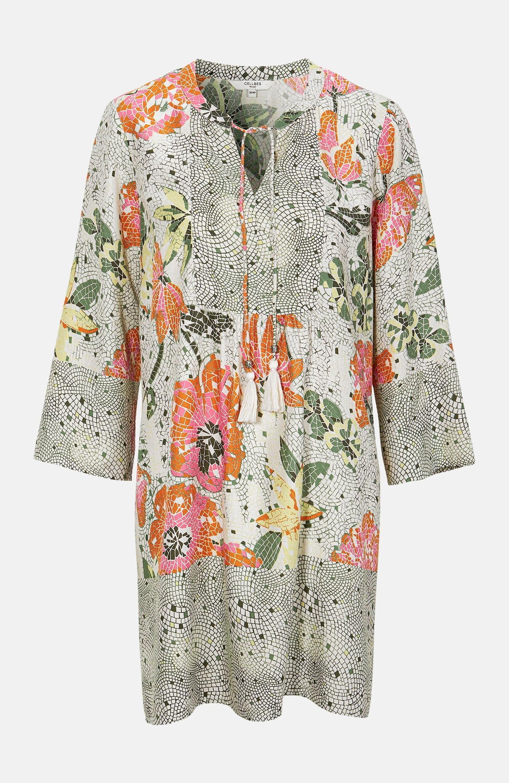 Mønstret tunika med dusker.