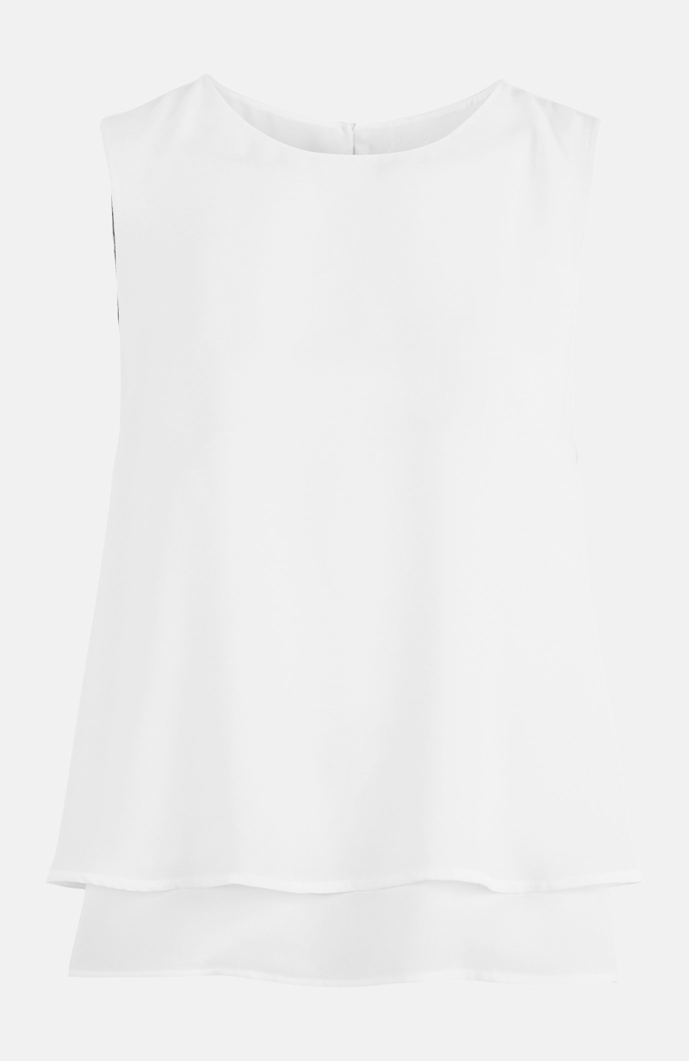 Ermeløs bluse i to lag