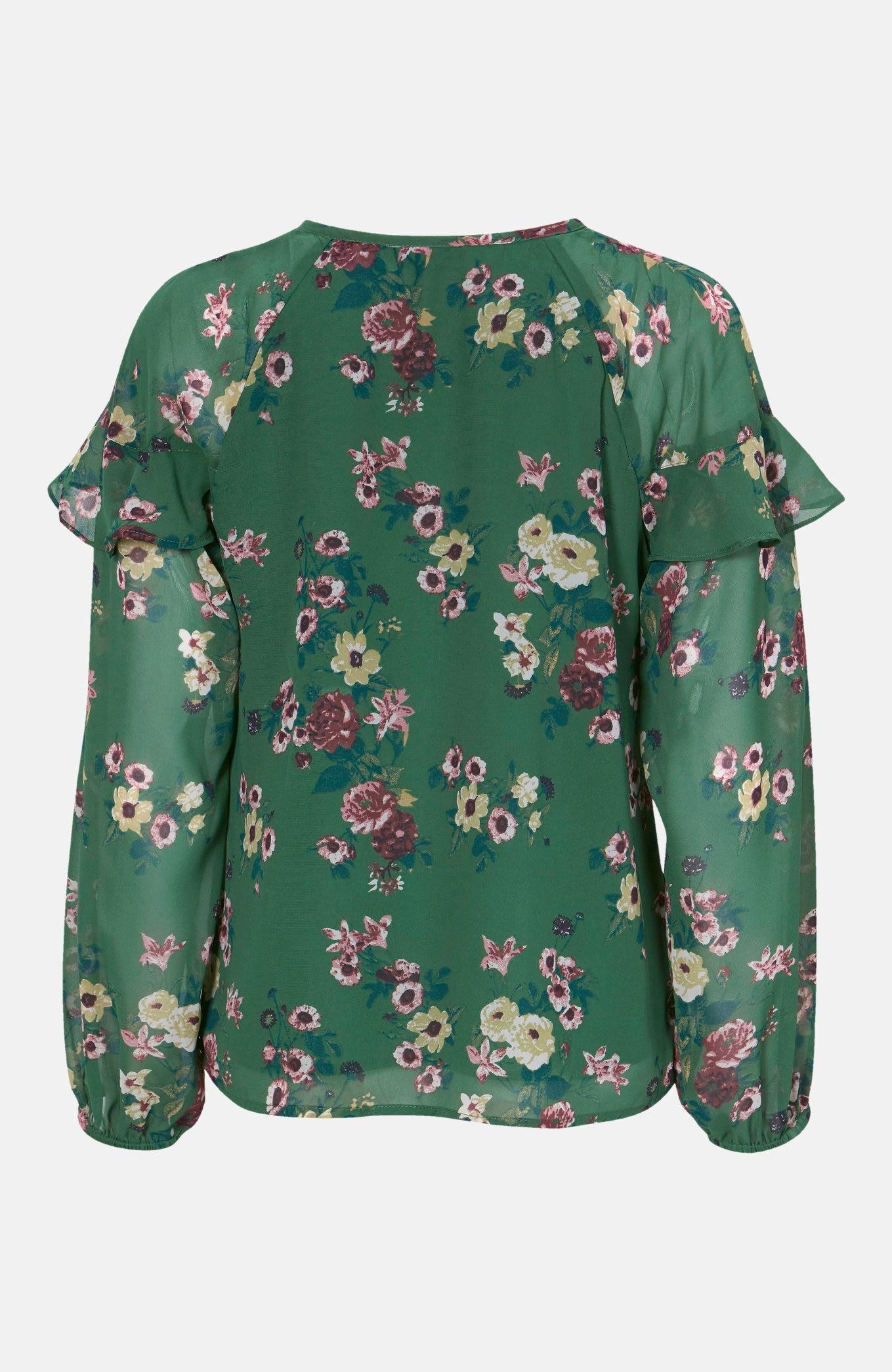 Vevd bluse med volang Becky