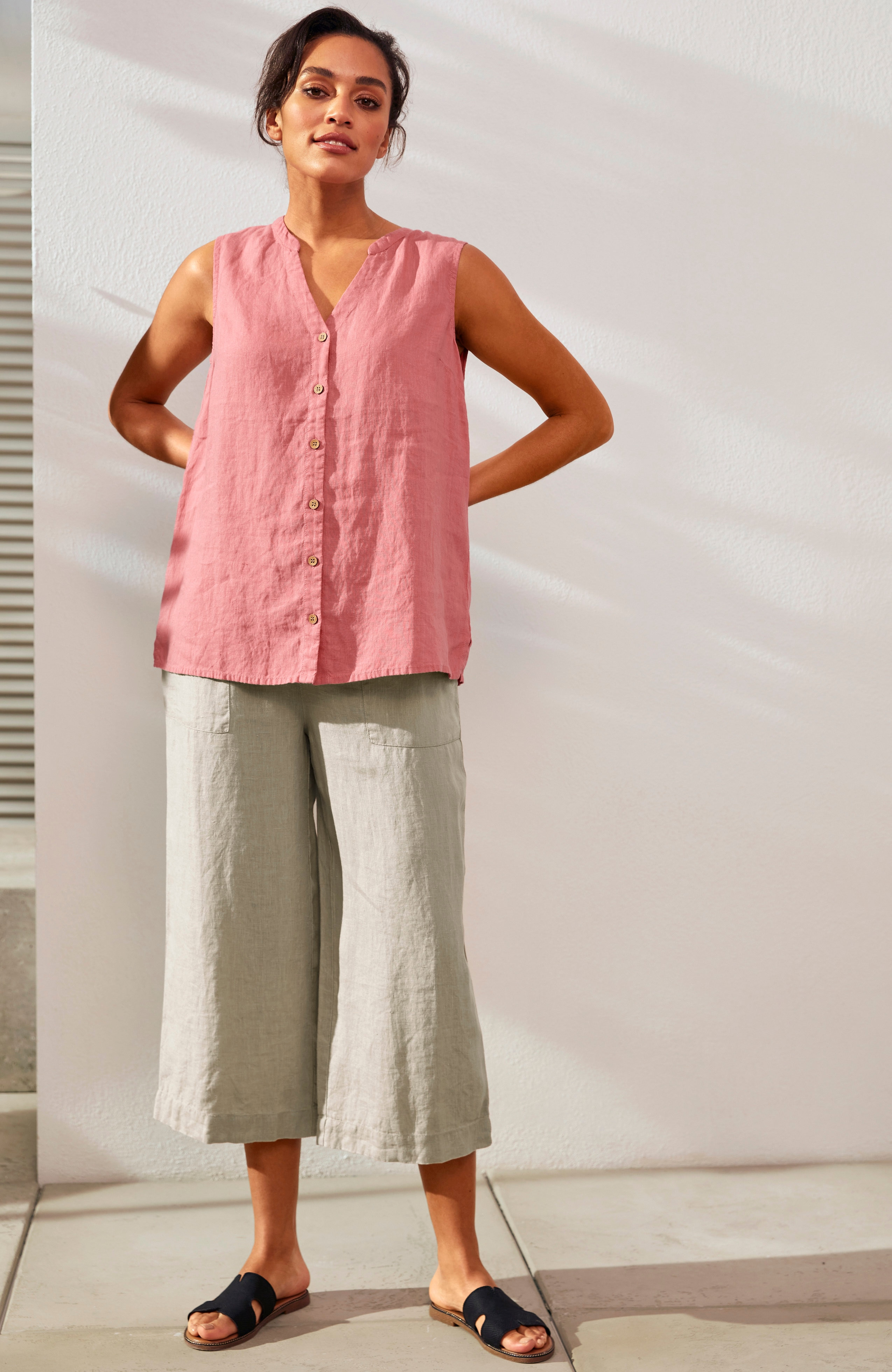Culottebukse i lin