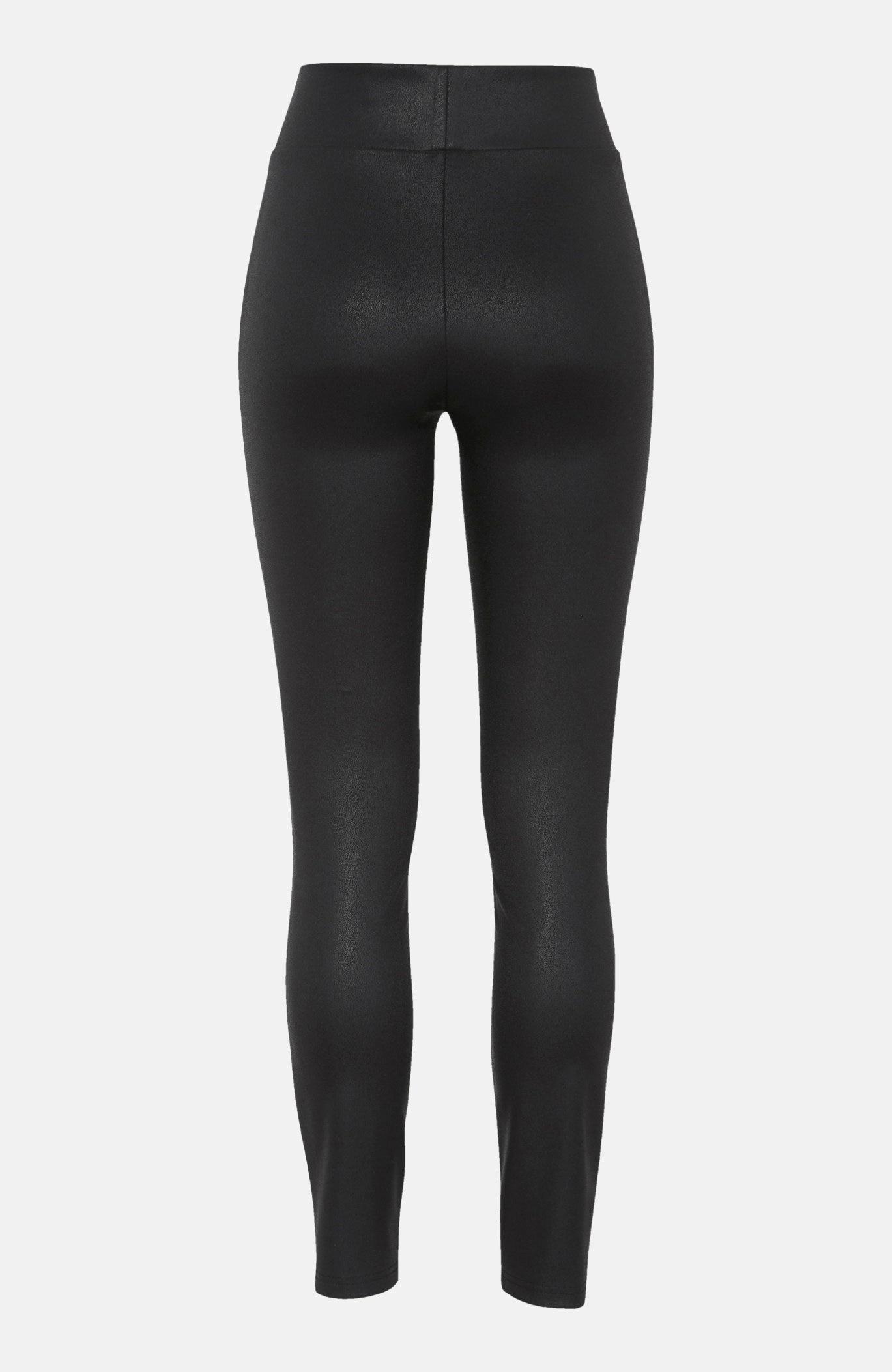 Stretchy leggings i PU med tekstur