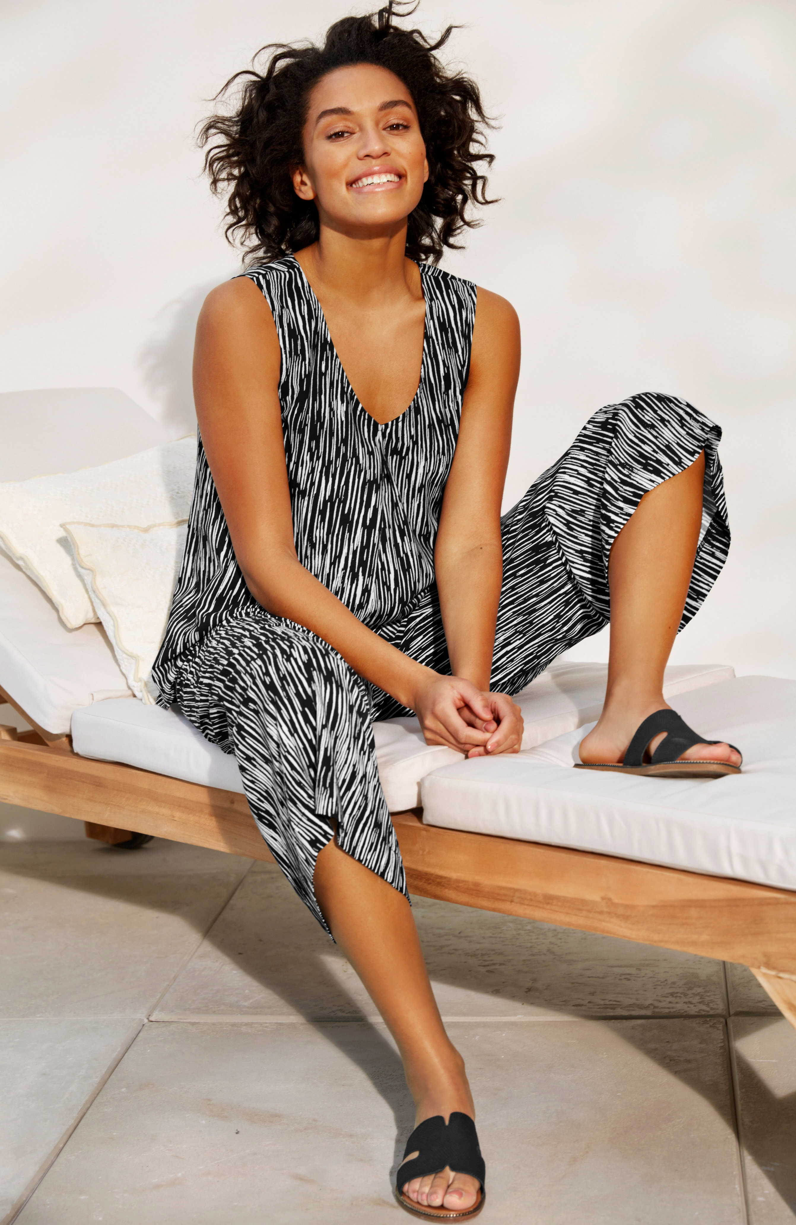 Mønstret, ermeløs bluse