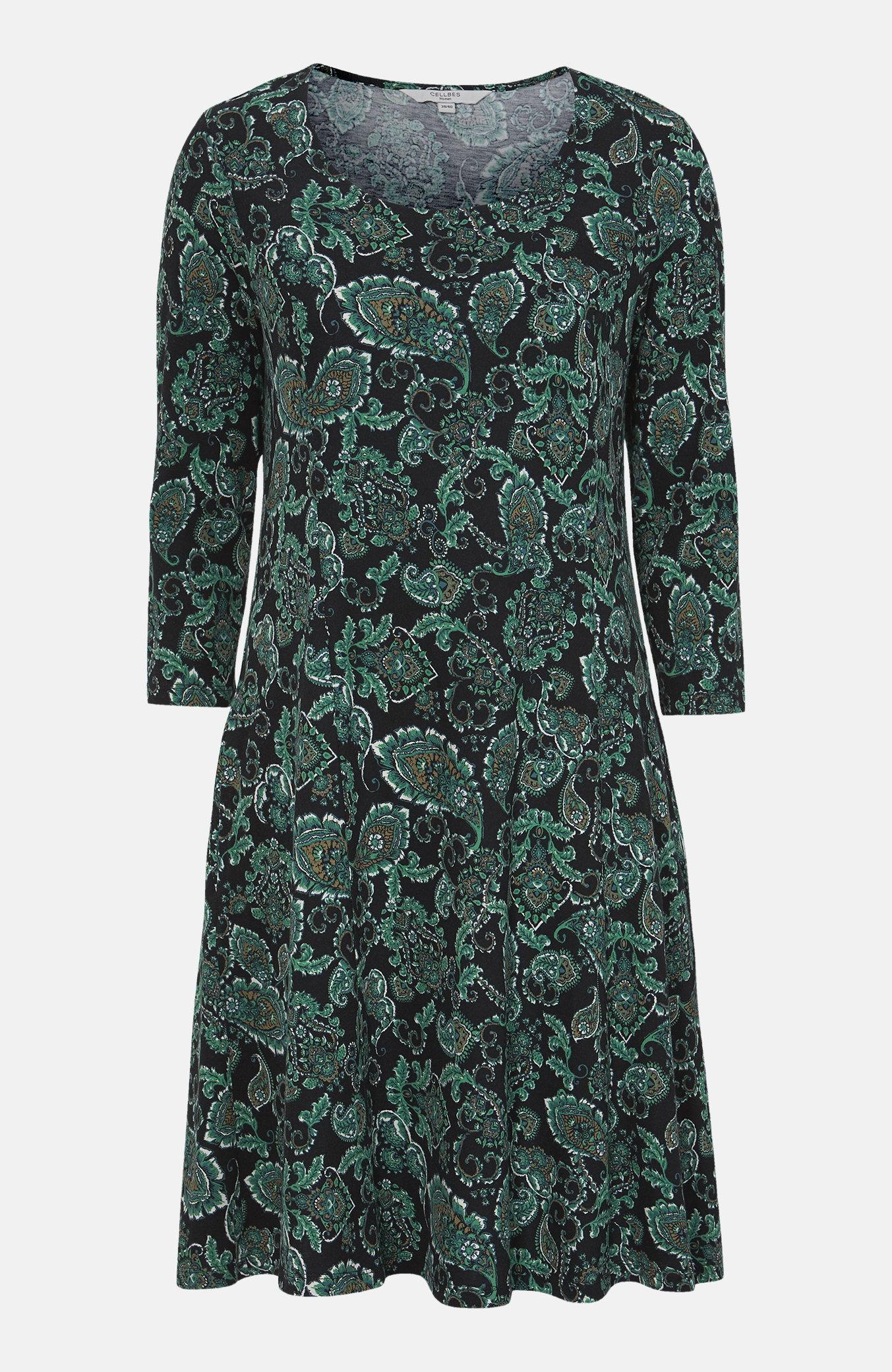 Mønstret Jersey-kjole med sidelommer