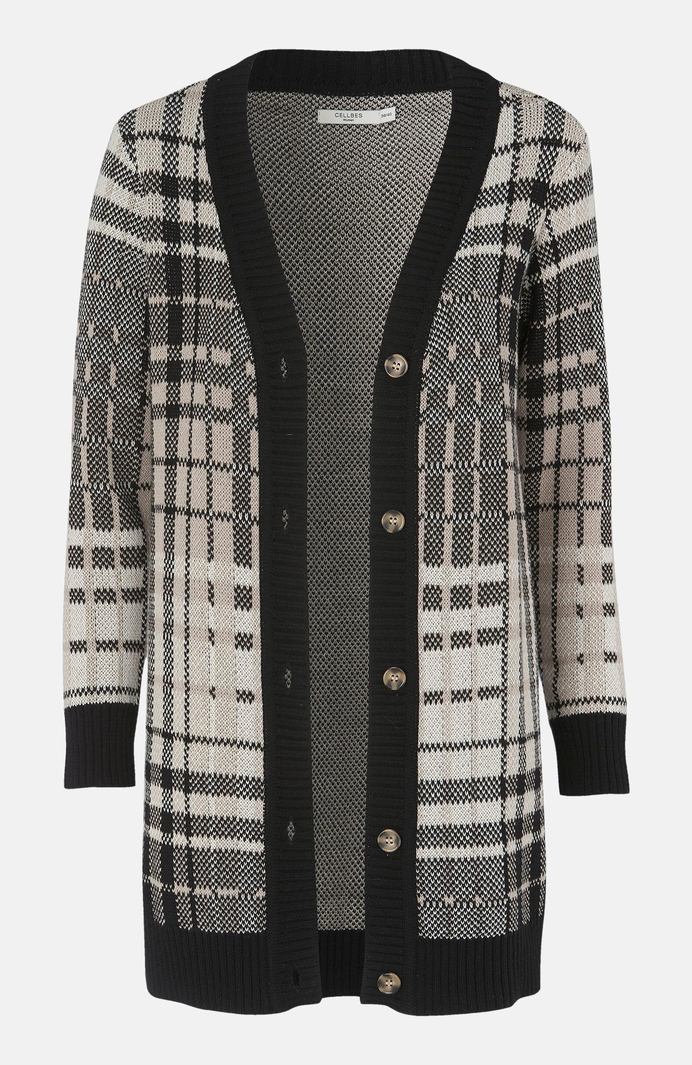 Kardigan med strikket rutemønster