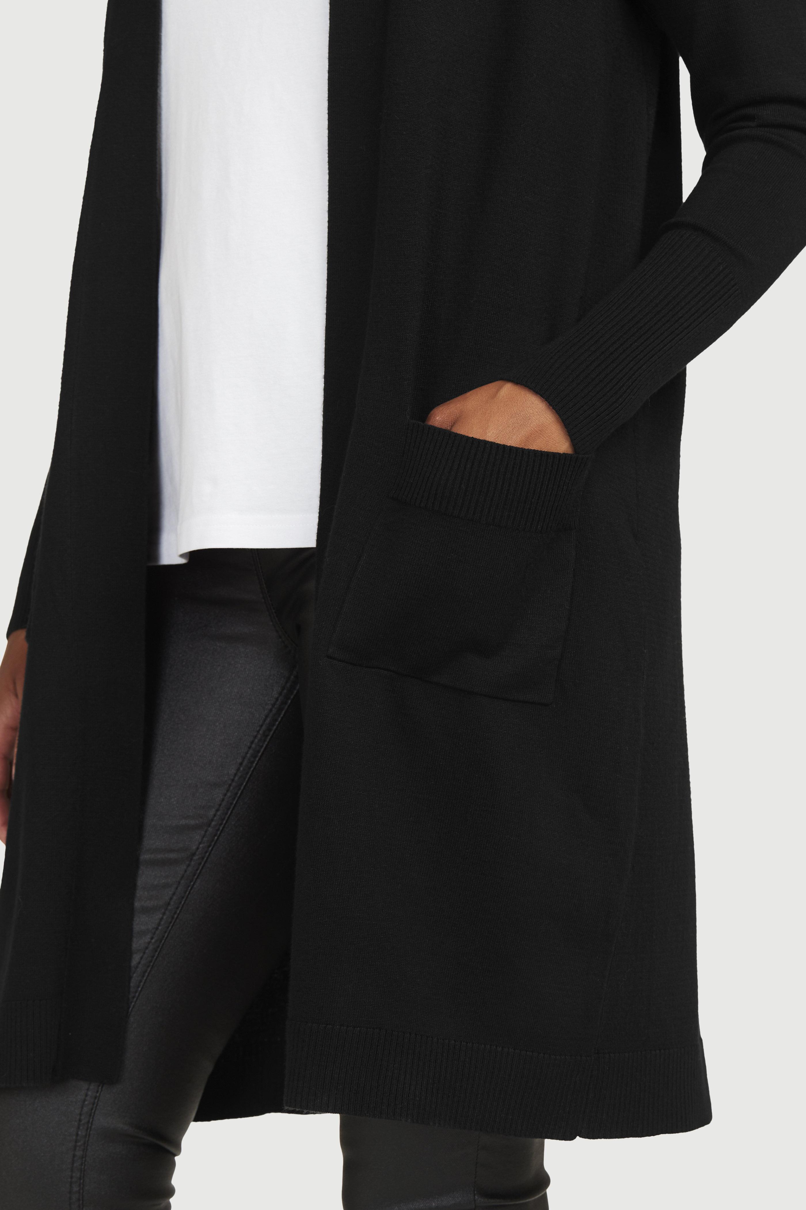 Finstrikket, lang cardigan med lommer