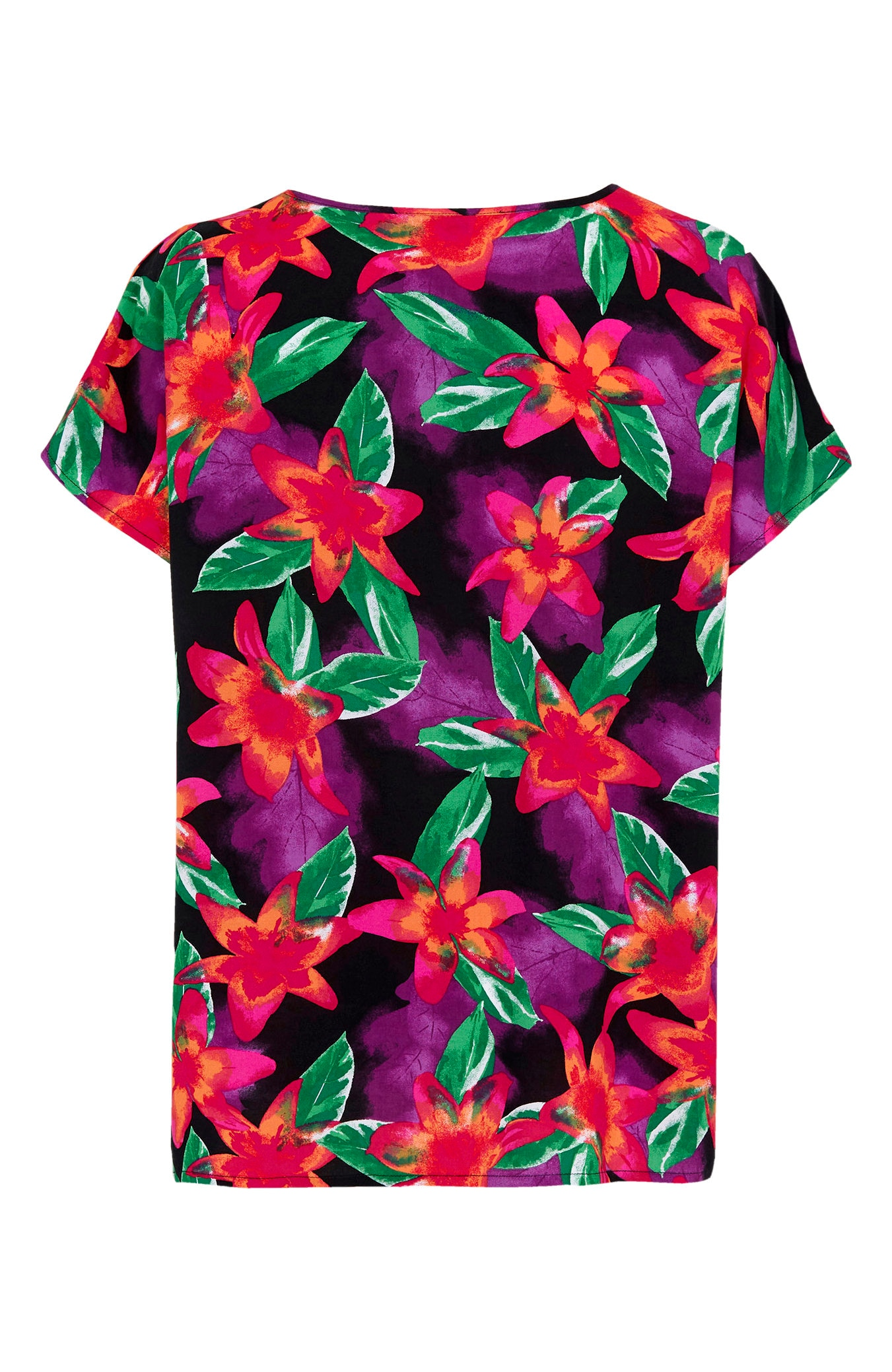 Blomstret bluse med holkeermer