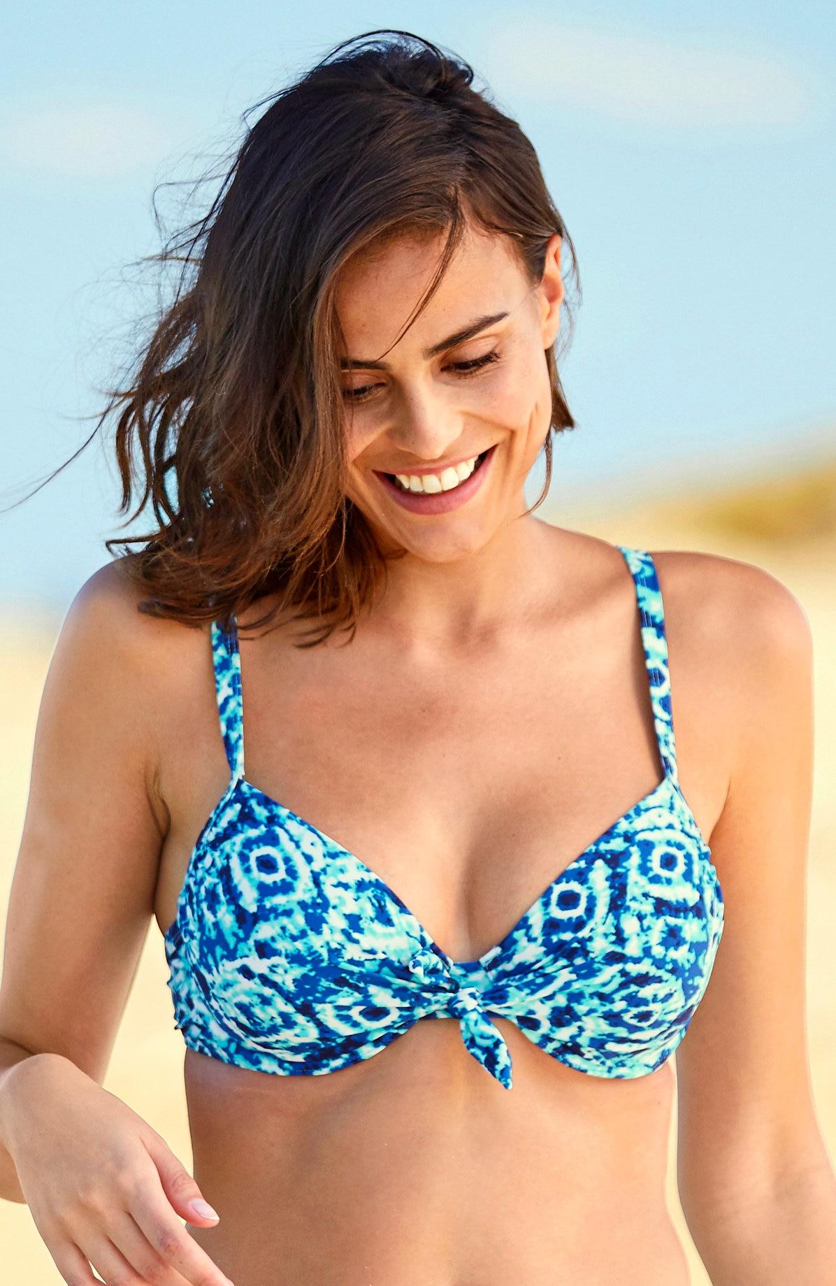 Blåmønstret bikini-bh med bøyle