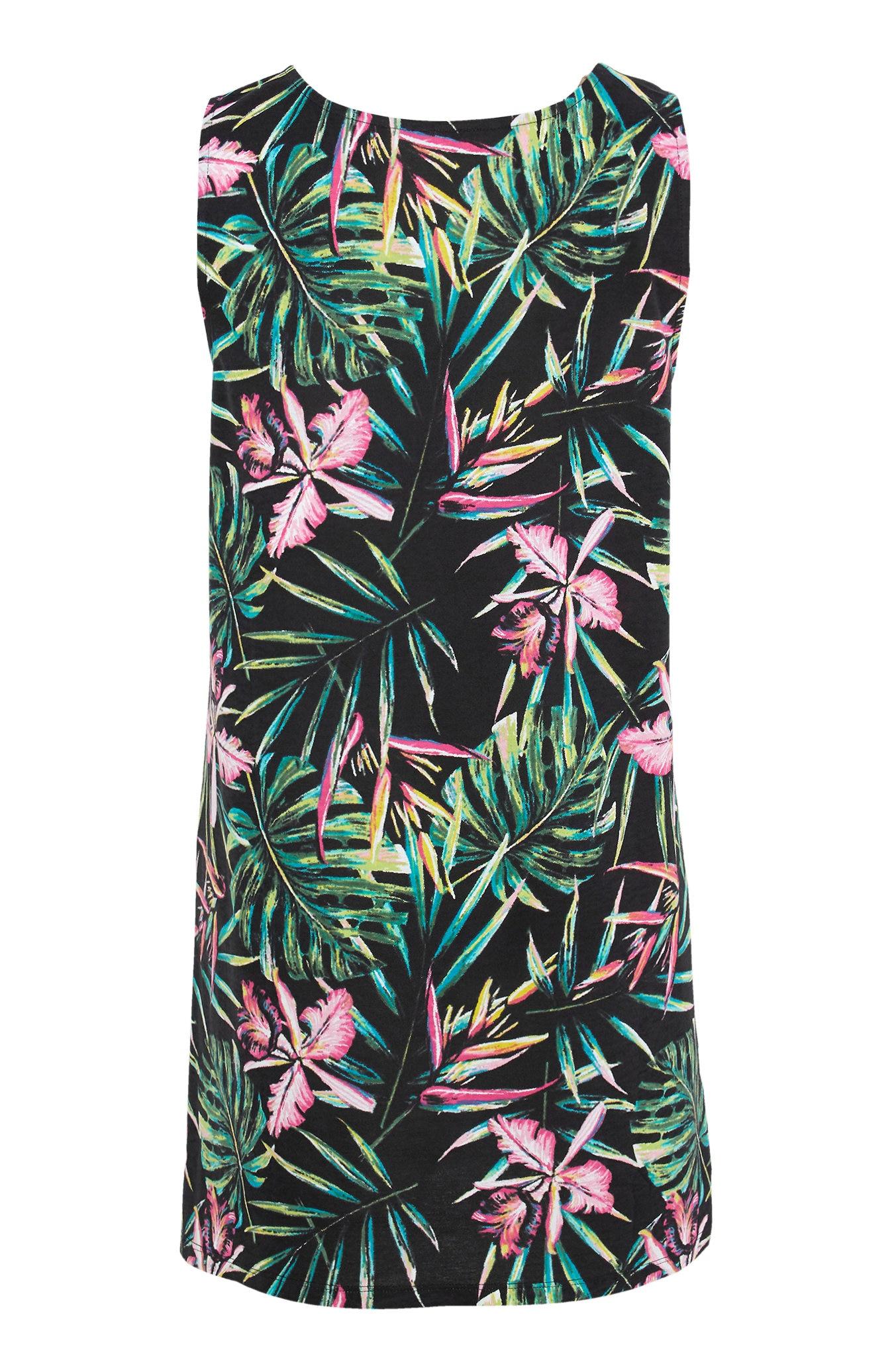 Ermeløs tunika med tropisk mønster 2-pack
