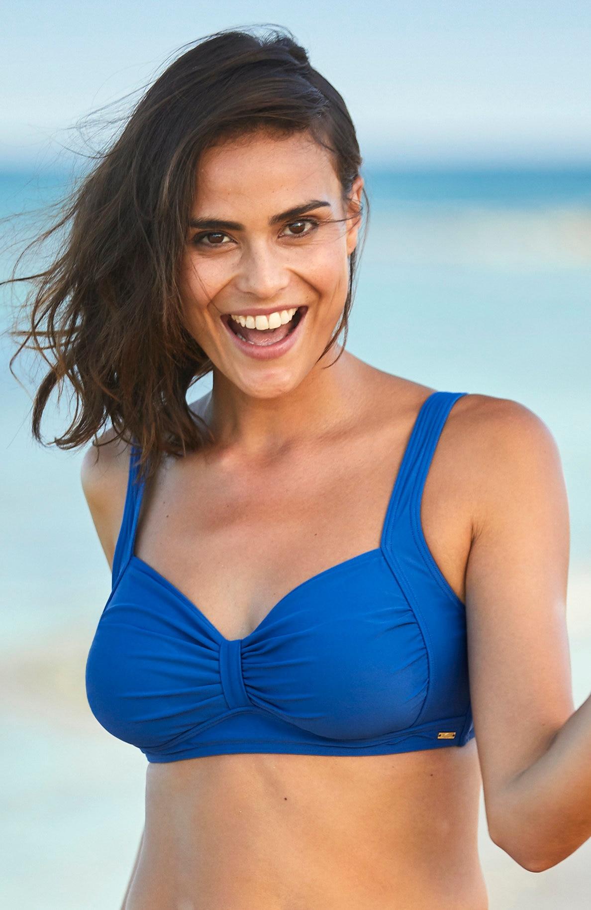 Blå bikini-bh uten bøyle
