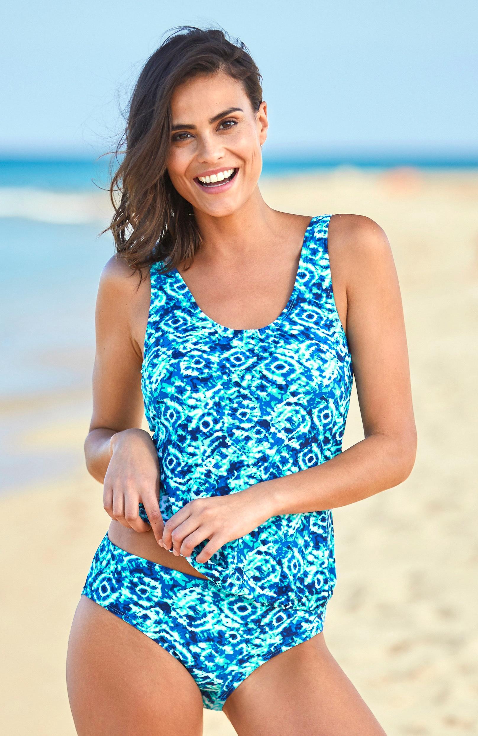 Blåmønstret bikinitruse