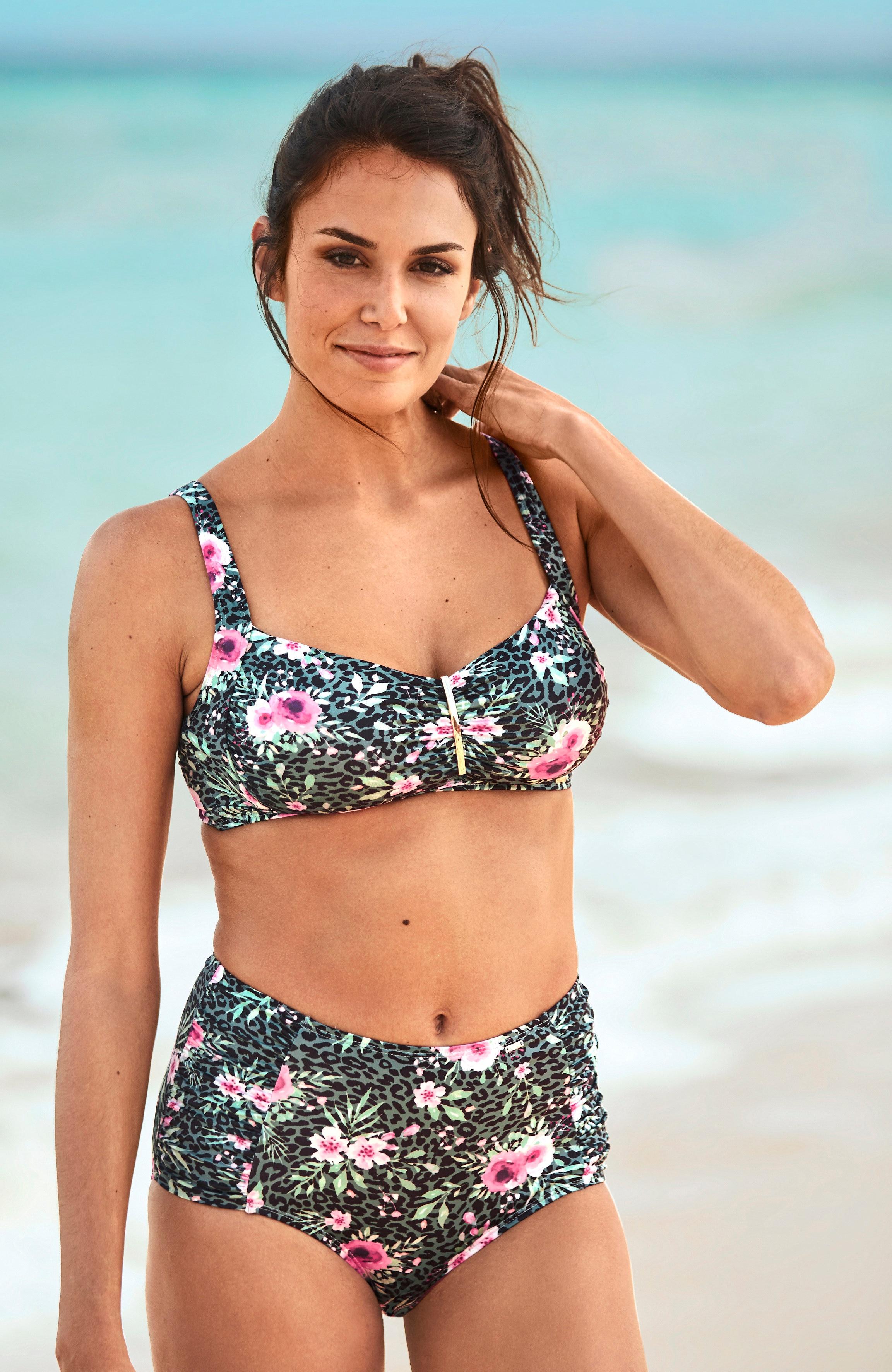 Blomstrete bikini-bh uten bøyle