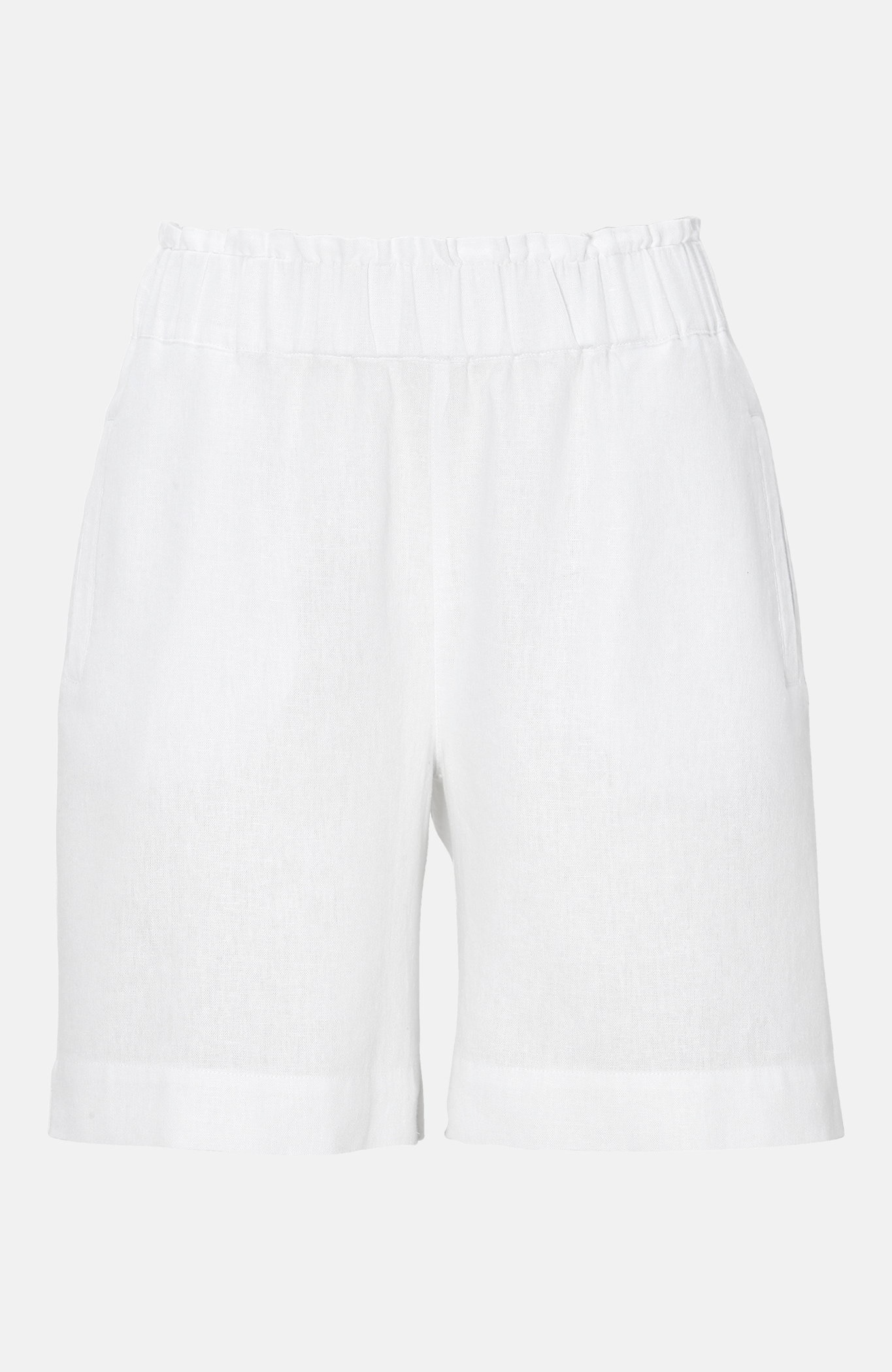 Shorts i linblanding med strikklinning